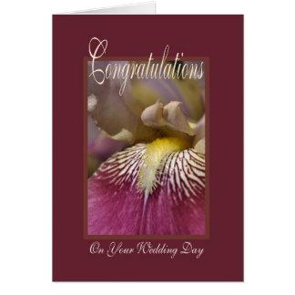 Felicitações em seu dia do casamento - flor da cartão comemorativo