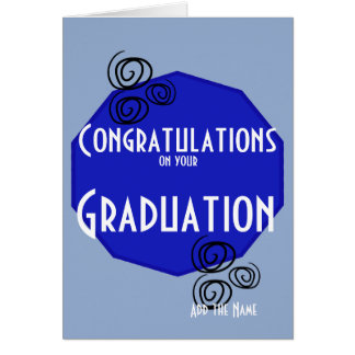 Felicitações em seu nome branco azul da graduação cartão comemorativo