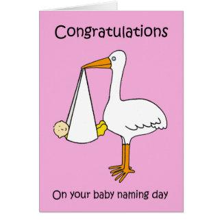 Felicitações fêmeas do dia de nomeação do bebê cartão comemorativo