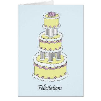 Felicitações francesas do casamento de cartão comemorativo