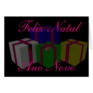 Felix e natal Ano Novo Cartão Comemorativo