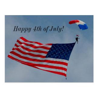 Feliz 4o julho com o cartão da bandeira americana