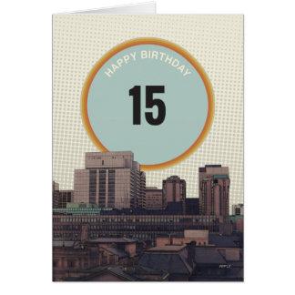 Feliz aniversario 15 anos velho cartão comemorativo