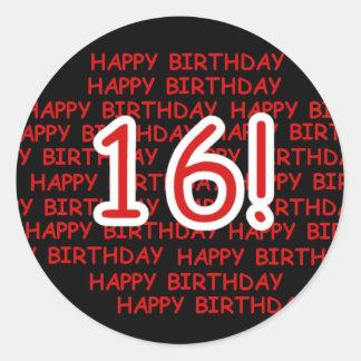 Feliz aniversario 16 adesivos em formato redondos