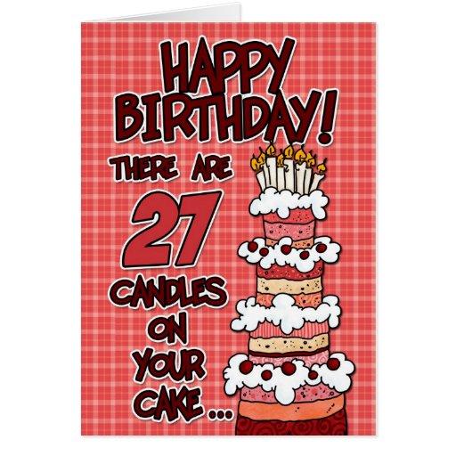 Feliz aniversario - 27 anos velho cartão comemorativo