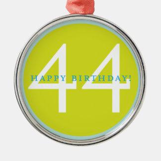 Feliz aniversario, 44! ornamento redondo cor prata