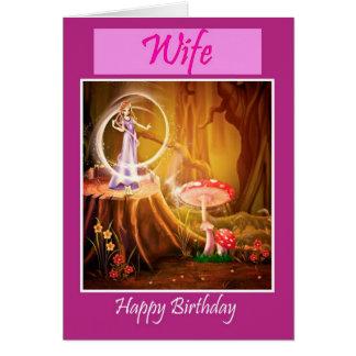 Feliz aniversario à esposa do marido com fada cartoes