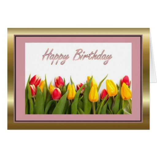Feliz aniversario à esposa do marido com flores cartao