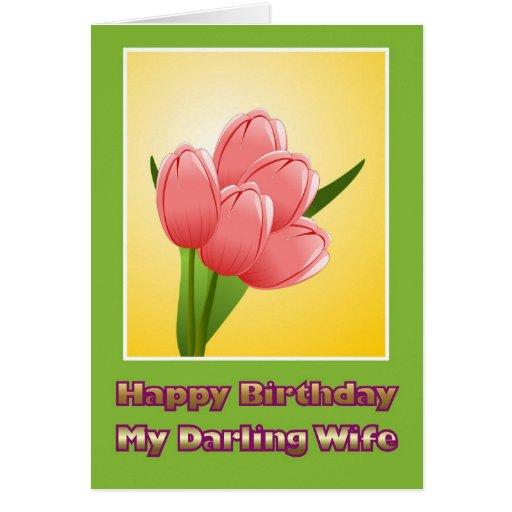 Feliz aniversario à esposa do marido com flores cartoes