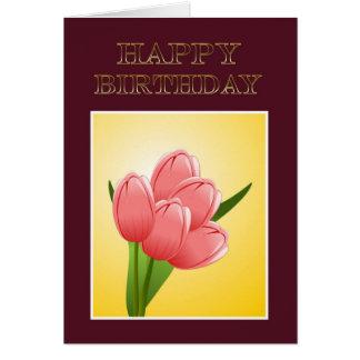 Feliz aniversario à esposa do marido com flores cartão
