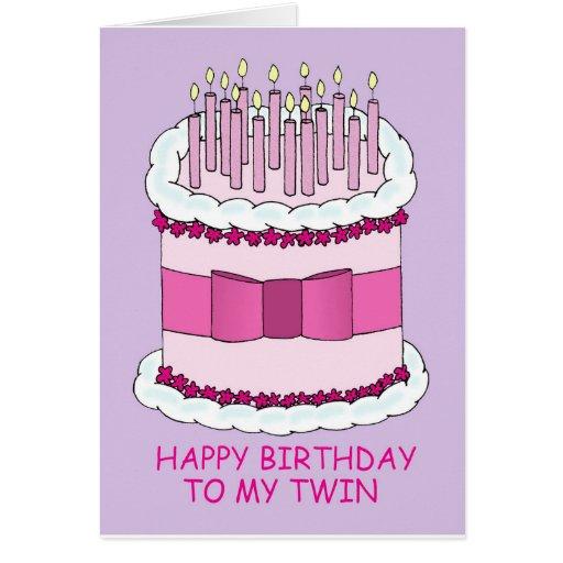 Feliz aniversario a meu bolo gêmeo, grande com cartao