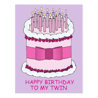 Feliz aniversario a meu bolo gêmeo, grande com cartão postal