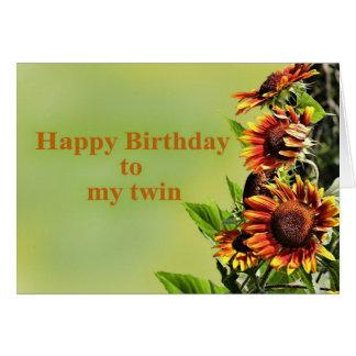 Feliz aniversario a meu gêmeo, com girassóis cartão comemorativo