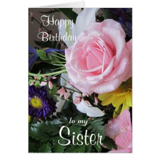 Feliz aniversario a meu ramalhete cor-de-rosa cartão comemorativo