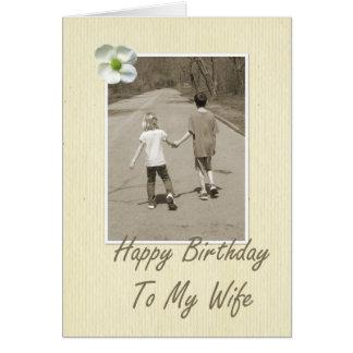Feliz aniversario a minha esposa - menino e menina cartão comemorativo