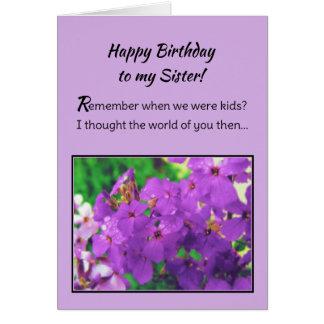 Feliz aniversario a minha irmã! cartão comemorativo