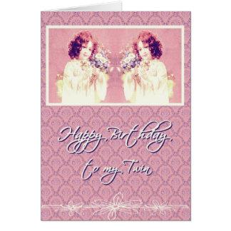 feliz aniversario a minha irmã gêmea cartão comemorativo
