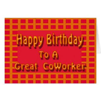 Feliz aniversario a um grande colega de trabalho cartão comemorativo