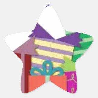 Feliz aniversario adesivo em forma de estrela