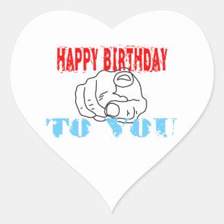 Feliz aniversário adesivo coração