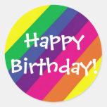 Feliz aniversario! adesivo em formato redondo