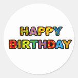 Feliz aniversario adesivo em formato redondo