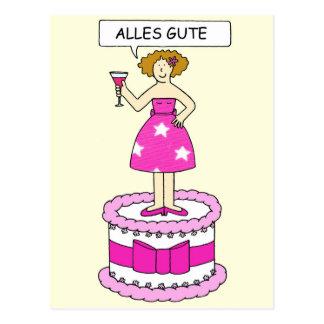 Feliz aniversario alemão, Alles Gute. Cartão Postal