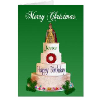 Feliz aniversario ao cartão de Natal de Jesus