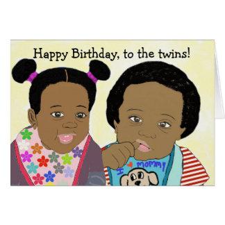 Feliz aniversario, ao cartão dos gêmeos