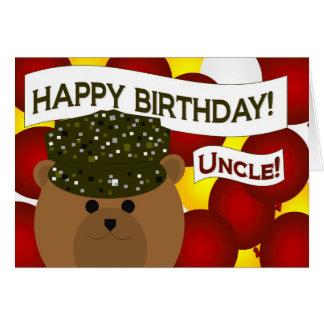 Feliz aniversario ao tio do soldado do exército! cartão comemorativo
