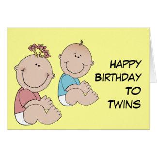 Feliz aniversario aos gêmeos cartões