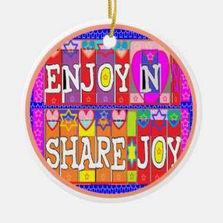 Feliz aniversario - aprecie e compartilhe da ornamento de cerâmica redondo