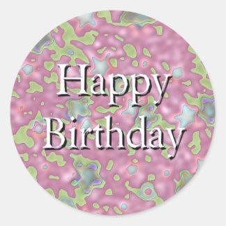 Feliz aniversario adesivos em formato redondos