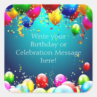 Feliz aniversario - balões coloridos azul - adesivo quadrado