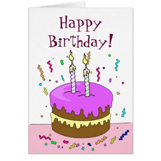 Feliz aniversario! Bolo 2 ANOS Cartão Comemorativo