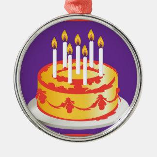 Feliz aniversario! Bolo de aniversário amarelo da Ornamento Redondo Cor Prata