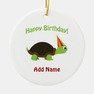 Feliz aniversario bonito! Tartaruga Ornamento De Cerâmica Redondo