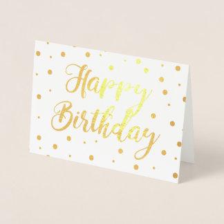 Feliz aniversario borbulhante cartão metalizado
