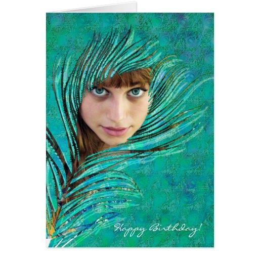 Feliz aniversario! - Cartão com fotos verde do