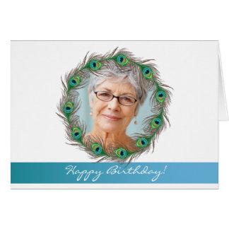 Feliz aniversario - Cartão da foto do pavão