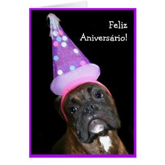 Feliz Aniversário! Cartão do cão do pugilista