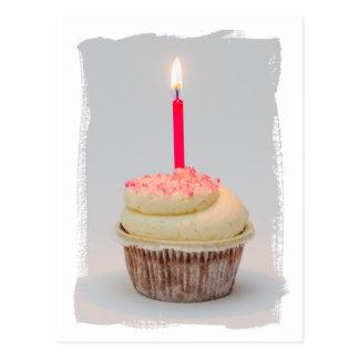 Feliz aniversario, cartão do cupcake da menina do cartão postal