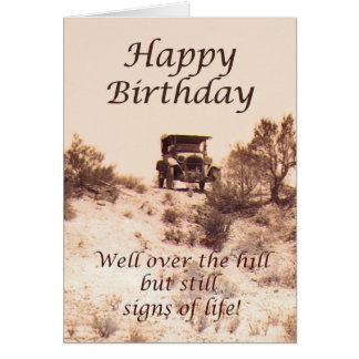 Feliz aniversario, cartão do vintage, sobre o
