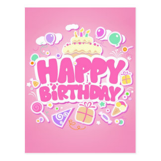 feliz aniversario cartão postal