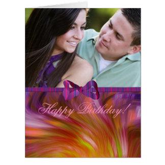 Feliz aniversario! Cartão roxo da foto da fita