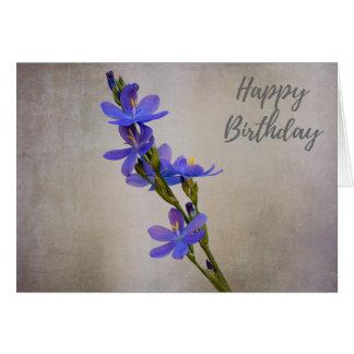 Feliz aniversario - cartão roxo da textura da flor