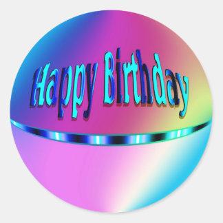 Feliz aniversario colorido adesivos em formato redondos