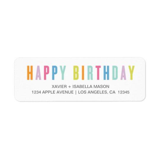 Feliz aniversario colorido etiqueta endereço de retorno