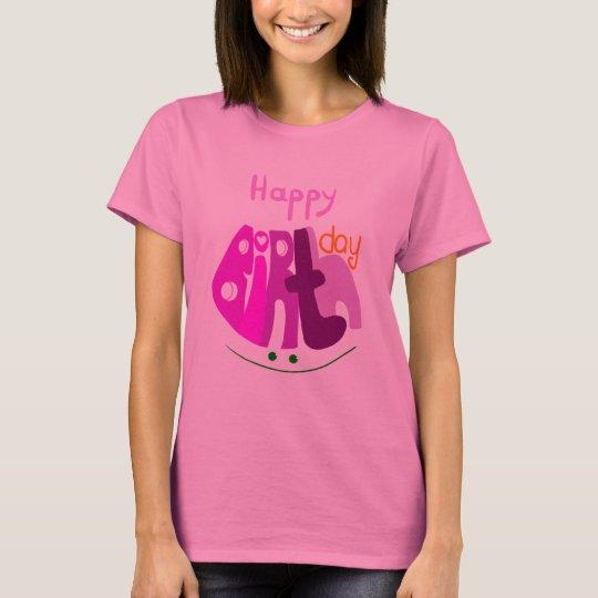 Feliz aniversario com a luva longa das senhoras do camiseta
