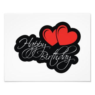 Feliz aniversario com dois corações vermelhos impressão de foto